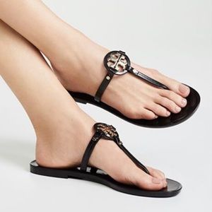 Tory Burch Mini Miller Black Jelly Thong Sandals